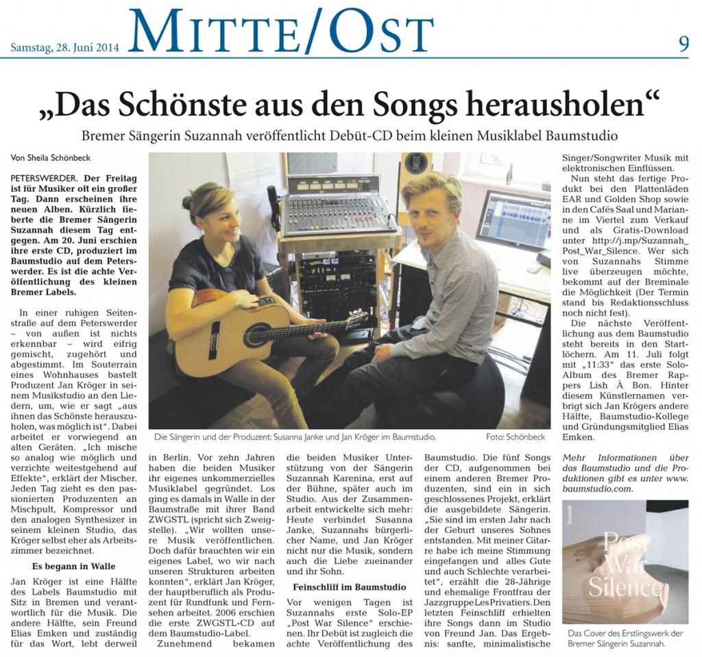 """Der Bremer Anzeiger war zu Besuch im Baumstudio anlässlich der Debüt Veröffentlichung """"Post War Silence"""" von Suzanna."""
